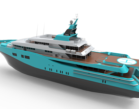 Luxury Yacht Blue Black 3D