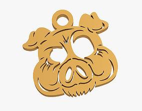 Pig muzzle trinket 3D print model