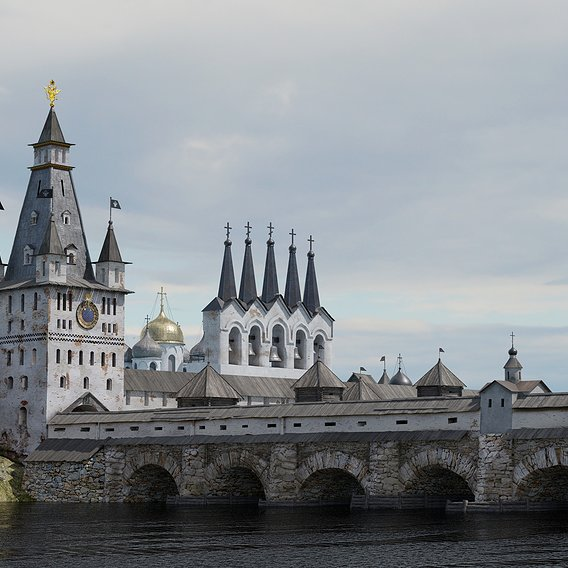 Russian Medieval Fortress and Bridge