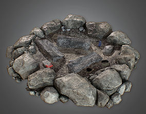 PBR Camp Fire Pit - PBR Game Ready 3 Model