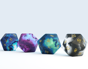 D20 Crystal Dice Set 3D model
