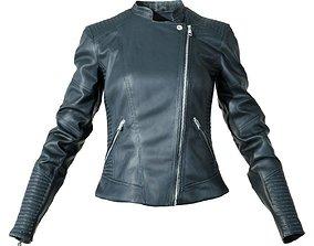 Black Leather Biker Jacket 3D asset game-ready