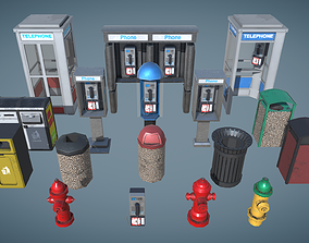 PhoneBooth Firehydrant Garbage bin 3D model