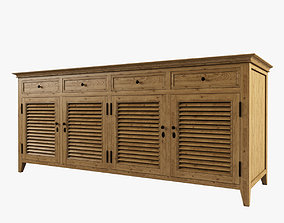 3D model Restoration Hardware Shutter Low Cabinet