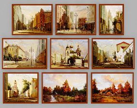 3D model Collection of paintings canvas