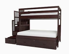 3D Cascade Twin over Full Bunk Bed with storage