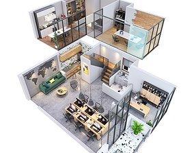 duplex Office apartment floorplan 3D model