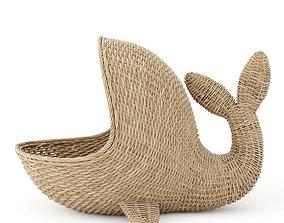 3D model Whale wicker basket laundry