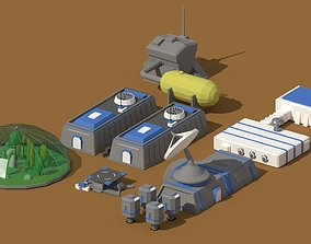 3D model Low Poly Scifi Space Colony Pack