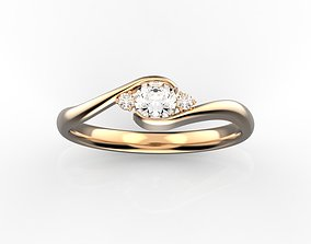 3 stones engagement ring 3D print model