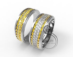 3D printable model Wedding rings with filigree