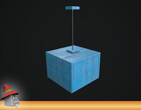 3D model game-ready Pendant Lamp Distress Wood PBR VR