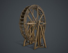 3D asset low-poly Water Wheel