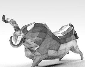 Geometric metal white bull figurine 3D model