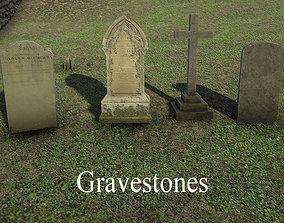 Gravestones 3D asset