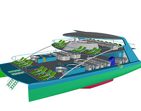 3D asset rigged Yacht Catamaran - Tour Boat
