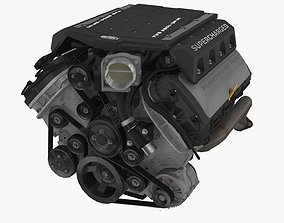 3D asset Ford Coyote Edelbrock Supercharged engine