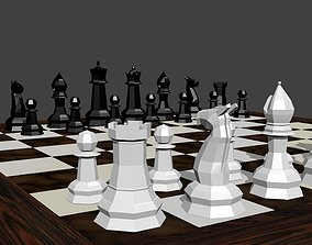 Low Poly Chess Scene 3D model