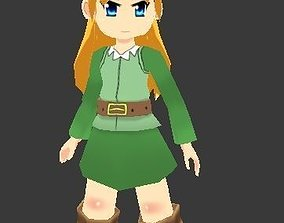 3D asset anime style Lowpoly female game character