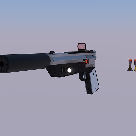 Low poly sci-fi gun