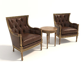 Classic Carving Armchair and Table 2 3D model