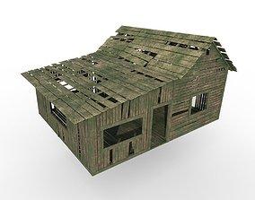 Wood house 3D asset