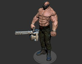3D print model Bane batman comics MiniGun bodibilding 1