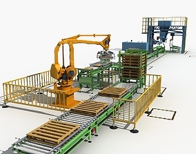 3D model Production packing line