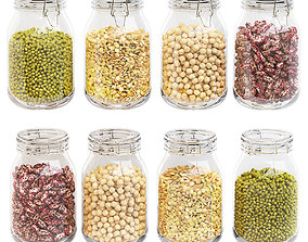 3D Kitchen glass jars set with beans chickpeas lentils and