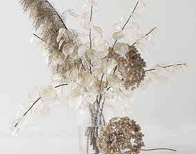 3D model Bouquet with lunaria pampas grass and hydragea