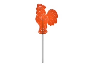 Sugar lollipop made in the shape of cockerel 3D