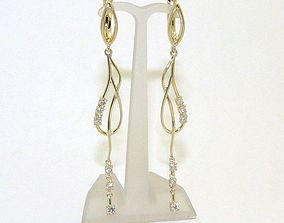 3D print model for women hanging earrings with stones