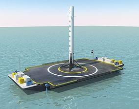 Falcon 9 and Barje 3D model