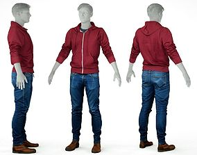 Male Casual Outfit 5 Hoodie Jeans Trousers 3D model 1