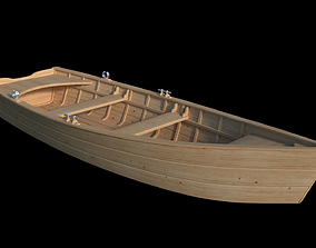3D Wooden flat bottom rowing boat
