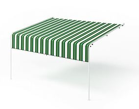3D Green White Awning