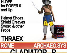 3D Roman Gladiator Thraex Props Poser Daz