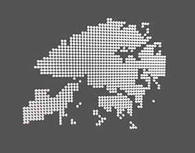 3D model Round Style Hong Kong Map v1 002