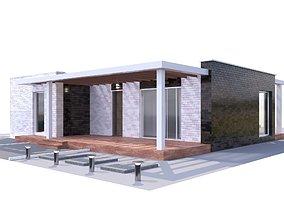 3D Modern brick House model garden