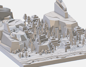 Isometric style grey big mountain landscape 3D asset