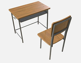 Low Poly PBR School Desk and Chair 3D asset