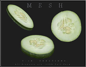 3D asset Slice of Cucumber
