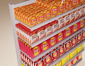 Showcase with potato chips lays 3D asset
