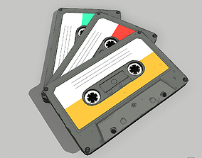 Stylized Textured Lowpoly cassette 3D model