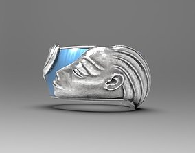3D print model Beauty Ring with woman profile