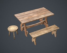 3D model realtime Medieval table pack