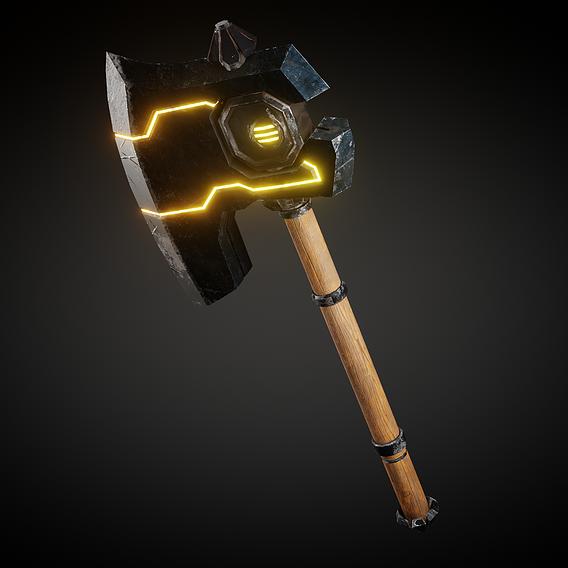 Battle Axe Low Poly 3D Model
