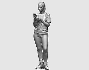 young girl looking on iphone in sportswear and 3D model 1