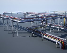 Modular industrial pipeline UE4 3D model