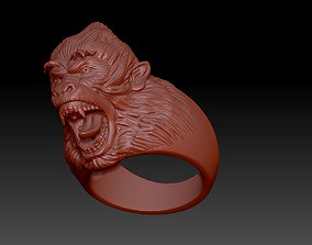3D print model predator ring with head of a monkey